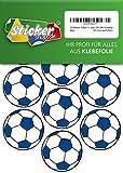 28 Aufkleber, Fußball, Sticker, 50 mm, weiß/blau, aus PVC, Folie, bedruckt, selbstklebend, EM, WM, Bundesliga