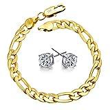 Showfay Schmuck Herren Damen Mode Armband 18K Gold kette Vergoldet Panzerkette Armreif für Männer, Länge 20 CM (R 8m)