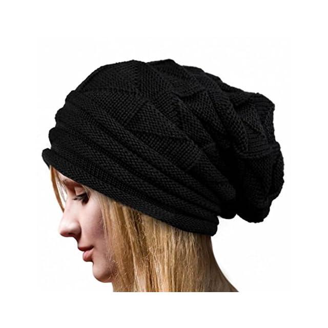 ... FOANA Chapeau Femmes d hiver Bonnet Chaud en Tricot De Laine pour f0eacaea805