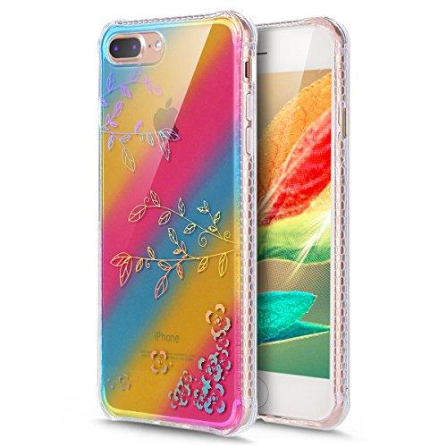 Coque iPhone 7 Plus, Étui iPhone 7 Plus, iPhone 7 Plus Case, ikasus® Coque iPhone 7 Plus Créatif Dégradé coloré arc en ciel Plaquage des couleurs Housse de protection en caoutchouc flexible Silicone É Branches