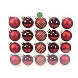 N/A 20 Christbaumkugeln Mix Glas Weihnachtskugeln Kugeln 60mm 6cm, Farbe:königsrot dunkelrot