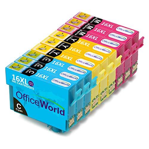 OfficeWorld Sostituzione per Epson 16 16XL Cartucce d'inchiostro Cyan Magenta Giallo Alta Capacità Compatibile per Epson Workforce WF-2510WF WF-2630WF WF-2530WF WF-2760DWF WF-2520NF WF-2660DWF