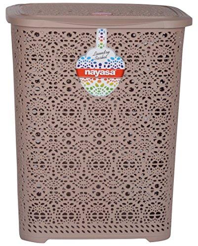Nayasa Flower Piece Polypropylene Laundry Basket, Brown