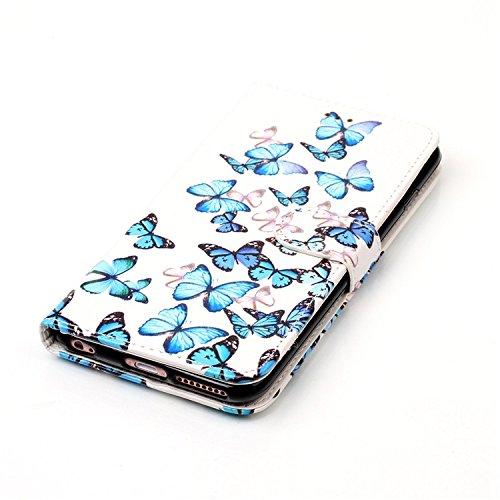 Vandot Etui IPhone 6 Plus Cuir Portefeuille Case IPhone 6S Plus Neuf Protection Coque Protecteur D'écran Bumper avec Pratique Fonction Stand Fermeture Magnétique Credit Carte Pochette + Luxe Mode boul Marbre-09