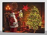 Quadro Natalizio Babbo Natale Albero Natale  LUCI LED