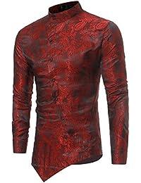 Camisas de Vestir Casual para Hombre Camisas Steampunk Blancas y Negras de Vino Negro Camisa de Manga Larga Slim Fit con Cuello Abotonado con Cuello Abotonado Camisas