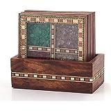 Little India Antique Design Gemstone Wood Tea Coaster Set (Brown, 198)