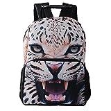 Lalawow 1680D Multiple función Mochila Alta Calidad de lona 3D Animales Mochila para chicos y chicas mochila escolar (Leopardo)