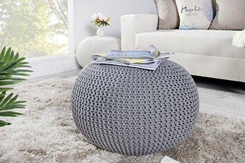 DuNord Design Hocker Sitzkissen Strickhocker Pouf BURLEY 50cm grau Beistelltisch Strick Ablage