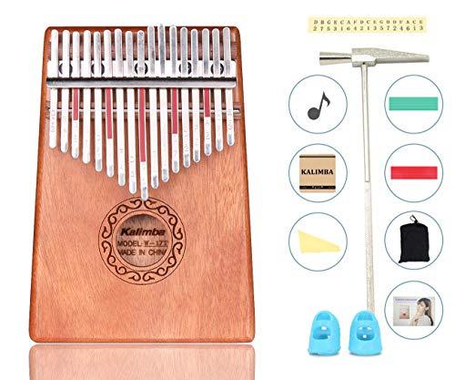 Kalimba 17 Key instrument,17 Schlüssel Daumen-Klavier,Finger Klavier,Daumenklavier,Kalimba Instrument,mit Lehrvideo, Musikbuch, Stimmhammer,Lernanleitung usw.
