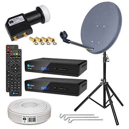 HB-DIGITAL Sat-Komplett-Set: Mini Sat Anlage 40cm Schüssel Anthrazit + UHD Twin LNB 0,1 dB + 20m Kabel + 2x HD 350S Receiver ( für HDTV geeignet ) + Alu Stativ
