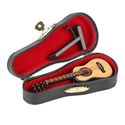 Hilitand Modelo de Guitarra de Madera en Miniatura Pantalla Mini Adornos Musicales Artesanía Decoración del hogar