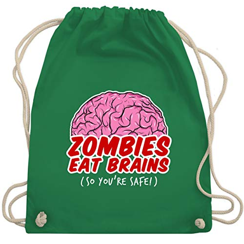 Halloween - Zombies eat Brains - so you´re safe! - Unisize - Grün - WM110 - Turnbeutel & Gym Bag (Kostüm Ideen Halloween Silber)