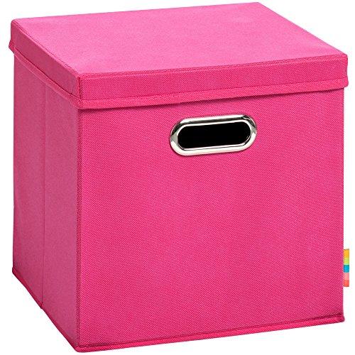 (H&S) Aufbewahrungsbox MIA mit Deckel - Faltbox - Korb - 28x28x28 cm - (Pink)
