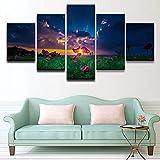 bdbdff 5 Panels Malerei Pinke Blumen,Wohnzimmer Wohnung Deko Kunstdrucke Modern Wandbilder Wanddekoration200Cmx100Cm(Rahmenlos)