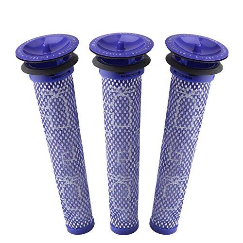 3 Pack Ersatzfilter für Dyson V8, V6, V7, DC58, DC59 Tier Kompatibel Waschbar Vorfilter Ersetzt Teil # 965661-01 - 3 Filter