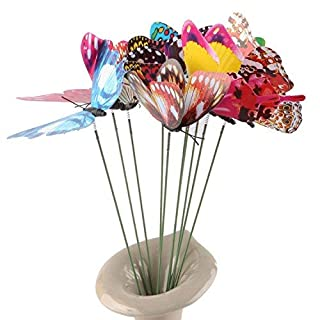 aoxintek 20 Night Beleuchtet Colorful Butterfly Garden Ornament Blumentopf Decor Schmetterling mit Stick zufällige Farben