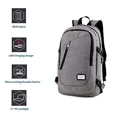 Imagen de  para portátil de negocios por dailystar, 15.6inch colegio  con usb puerto de carga, antirrobo bolsa de viaje ligero para hombres y mujeres gris gris alternativa