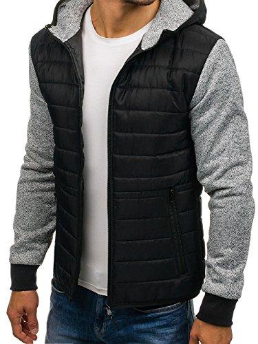 BOLF giacca mezza stagione – Con cappuccio – Chiusa a zip – Mimetica – Di moda – Stile quotidiano – Da uomo [4D4] Nero_AK53