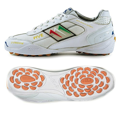 AGLA PROFESSIONAL FIVE OUTDOOR WHITE WHITE scarpe calcetto calcio a 5 futsal (EUR 39)