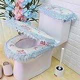 Cojin de tela de encaje de encaje de aseo, tres piezas, WC asiento Cojin Cojin de cadena, inodoro,En azul