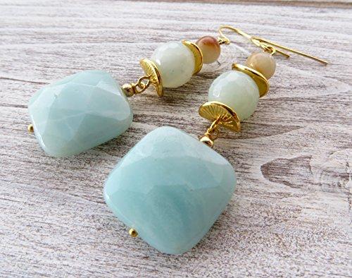 Orecchini con amazzonite naturale azzurra, pendenti con pietre dure naturali, gioielli turchesi, bijoux artigianali, regalo per lei