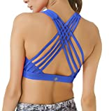 Queenie Ke Women's Medium Support Strappy Back Energy Sport Bra Cotton Feel Size S Color Jazz Blue