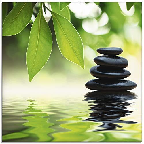 Artland Glasbilder Wandbild Glas Bild einteilig 30x30 cm Quadratisch Wellness Zen Entspannung Stein Blätter Fotografie Grün Pyramide auf Wasser T5UJ