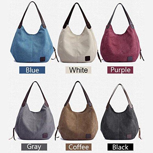 Frau Handtasche Sansee Damen Leinwand Vintage Hochwertige Handtaschen Schultertaschen Damenhandtaschen Weiß
