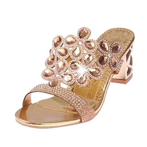 Beautytop sandali estivi da donna con zeppa elegante ragazze estate sandali pantofole con strass scarpe tacchi alti della boemia alla caviglia basse da aperte peep sandalo (size=39, oro)