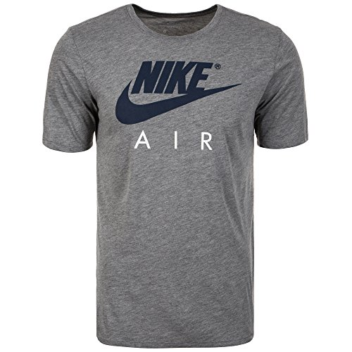 Nike Herren Air HD Logo T-Shirt, Carbon Heather/(LT Fusion Red), 2XL (Baumwolle-logo-t-shirt)