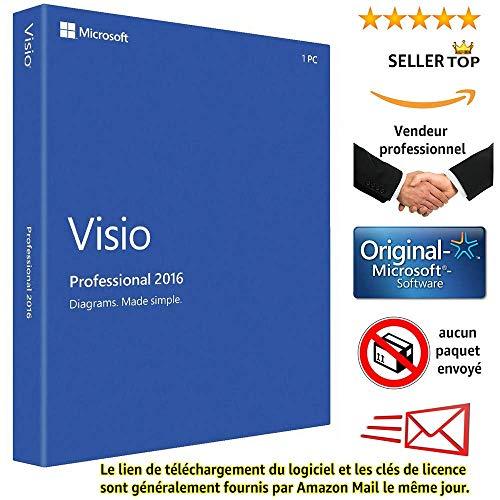 Visio 2016 Microsoft Professional Plus - Licence perpétuel - Pas d'abonnement - Licence numérique originale Envoyé dans un jour par E-mail Amazon - AUCUN CD / DVD