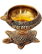 BrassLine Handmade Indian Puja Brass Oil Lamp - Kuber Diya Lamp Engraved Design Dia with Turtle Base (1 Quantity)