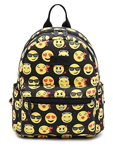 Imagen de tibes linda   para niñas  lona estudiantes emoji bolsos  c negro1