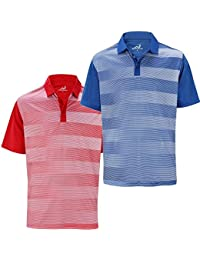 2 Pack Woodworm Golf Fairway Stripe Golf Polo Shirts