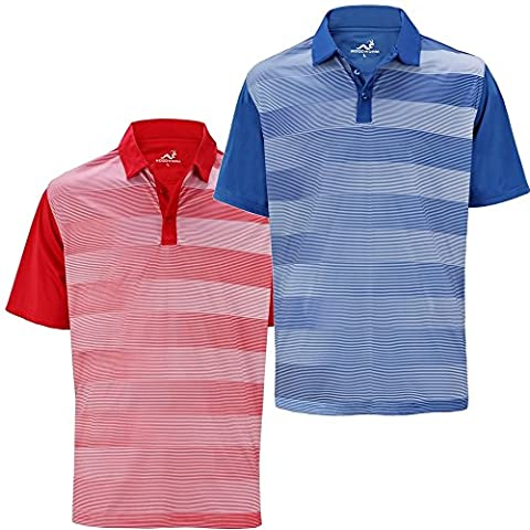 2 Pack Woodworm Golf Fairway Stripe Golf Polo Shirts L