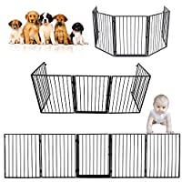 SAILUN Baby Safety Gate Playpen 5 Panel Adjustable Hearth Gate with Door Play Yard Metal Fireplace Fence Christmas Tree Gate Baby Safety Barrier Fence Guard for Pet Child Toddler Dog Cat