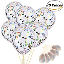 Vamei Pentagram Globos de Confeti Globos de látex para la boda de la fiesta y la decoración del Festival 12 Inches Pack of 20