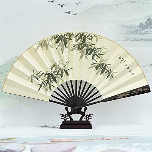 XIAOHAIZI HandfächerFächerFoldingFans Klassischen Chinesischen Stil Faltfächer, Pflanzengrün Bambus Handgemalte Handwerk Fan Männer Geschenk Home Decoration Faltfächer