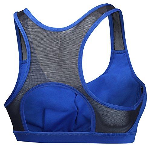 YARBAR Femmes à impact élevé de soutien en maille avec amovibles Coupes Brassière Bleu