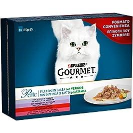 Purina Gourmet Perle Umido Gatto Filettini in Salsa con Verdure con Vitello, Selvaggina, Manzo, Trota, 8 Buste da 85 g Ciascuna, 1 Confezione da 8, 85 g