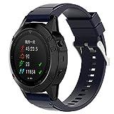 XIHAMA pour Garmin Fenix 5X Bracelet de montre GPS, 26mm Silicone Quickfit Band de rechange Sport Fitness Wrist Bracelet (bleu marin)