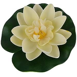 Beauty **, plettri Home Decor Laghetto artificiale Lotus a forma di ninfea, galleggiante, ideale per piante, bianco, Bianco