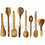 PEBBLE CRAFTS Handmade Wooden Serving And Cooking Spoon Kitchen Tools Utensil, Set Of 8