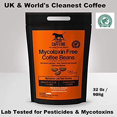Lean Caffeine Bulletproof Coffee Whole Beans 908 Gram | Pesticide & Mycotoxin Free, Low Acidity Coffee + Rainforest Alliance | Paleo / Keto / Ketogenic / Upgraded Coffee Beans | Better than Organic Coffee Beans | Fresh , Dark Roast , Small Batch , Artisan