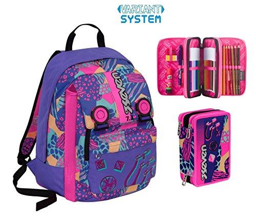 Zaino scuola seven new sdoppiabile - swag girl - viola rosa + astuccio 3 zip - capacit 32 lt - inserti rifrangenti