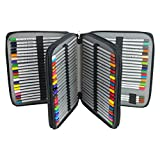 Newcomdigi Federmappe Schüleretui Federtasche 120 Bleistift Federmäppchen Bleistift-Beutel für Schule Büro Kunst (Bleistifte sind nicht enthalten) (Schwarz)