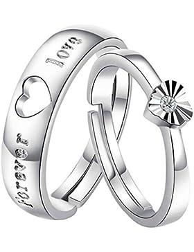 1 Paar Sterling Silber FOREVER LOVE Herz Partnerringe Trauringe Verlobung Ringe Band - Einstellbar