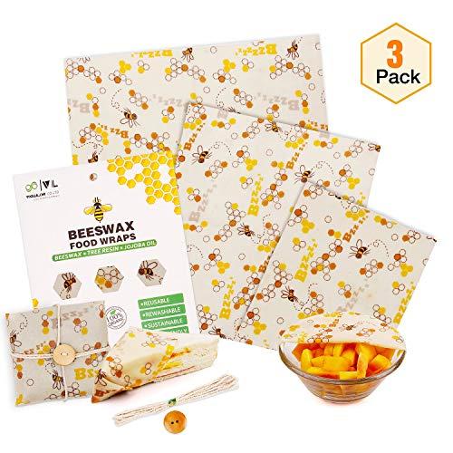 VIEWLON Bienenwachstücher 3er Set, für Lebensmittelkonservierung - Frischhaltefolie Wiederverwendbar - Beeswax Wrap aus Bio-Baumwolle - nachhaltige Alternative zu Frischhaltefolie - Zero Waste -