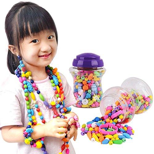 JINTN Kinder DIY Schmuckperlen-Set für Mädchen Pop Snap Perlen Stringing Schmuck Halskette Armband Ringe Spielzeug Plug-in Perlen für Mädchen Weihnachten Geburtstag Kindertag Geschenk-Set (Zusammen Perlen Snap)